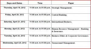 TYBBI 6th Sem Timetable